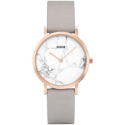 CLUSE CL40103 Women's La Roche Petite Leather Strap Watch, Grey/White Marble