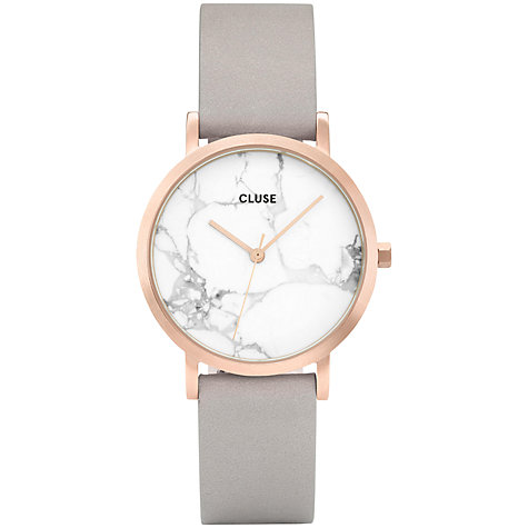 Buy CLUSE CL40103 Women's La Roche Petite Leather Strap Watch, Grey/White Marble Online at johnlewis.com