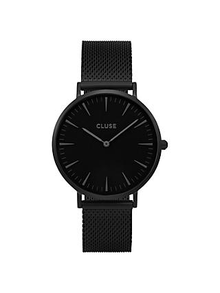 CLUSE CL40002 Women's La Boheme Mesh Bracelet Strap Watch, Black