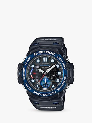 Casio GN-1000B-1AER Men's G-Shock Gulfmaster World Time Chronograph Resin Strap Watch, Black