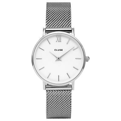 CLUSE CL30009 Women's Minuit Mesh Bracelet Strap Watch, Silver/White