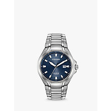 Buy Citizen BM7170-53L Men's Date Titanium Bracelet Strap Watch, Silver/Navy Online at johnlewis.com
