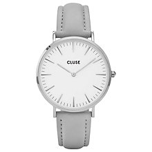 Buy CLUSE Women's La Boheme Silver Leather Strap Watch Online at johnlewis.com