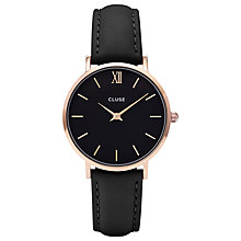 Buy CLUSE CL30022 Women's Minuit Rose Gold Leather Strap Watch, Black Online at johnlewis.com