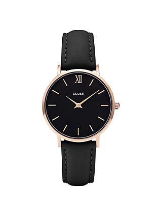 CLUSE CL30022 Women's Minuit Rose Gold Leather Strap Watch, Black