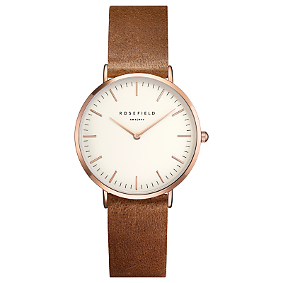 ROSEFIELD TWBRR-T55 Women's The Tribeca Leather Strap Watch, Tan/White