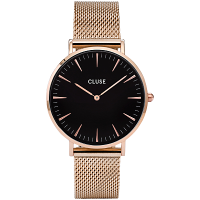 CLUSE CL18113 Women's La Boheme Mesh Bracelet Strap Watch, Rose Gold/Black