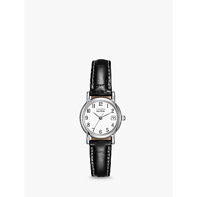Citizen EW1270-06A Women's Date Leather Strap Watch, Black/White