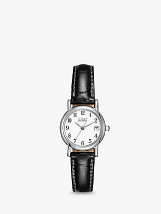 Citizen EW1270-06A Women's Date Leather Strap Watch, Black/White