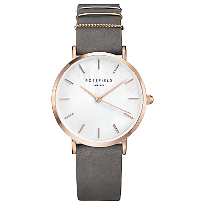ROSEFIELD WEGR-W75 Women's The West Village Leather Strap Watch, Grey/White