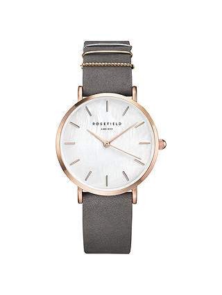 Buy ROSEFIELD WEGR-W75 Women's The West Village Leather Strap Watch, Grey/White Online at johnlewis.com