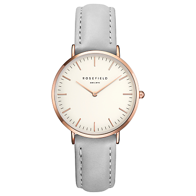 ROSEFIELD TWGR-T57 Women's The Tribeca Leather Strap Watch, Grey/White