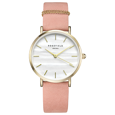 ROSEFIELD WBPG-W72 Women's The West Village Leather Strap Watch, Pink/White