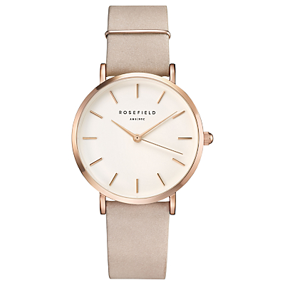 ROSEFIELD WSPR-W73 Women's The West Village Leather Strap Watch, Blush/White