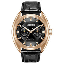 Buy Citizen BU4013-07H Men's Day Date Leather Strap Watch, Black Online at johnlewis.com