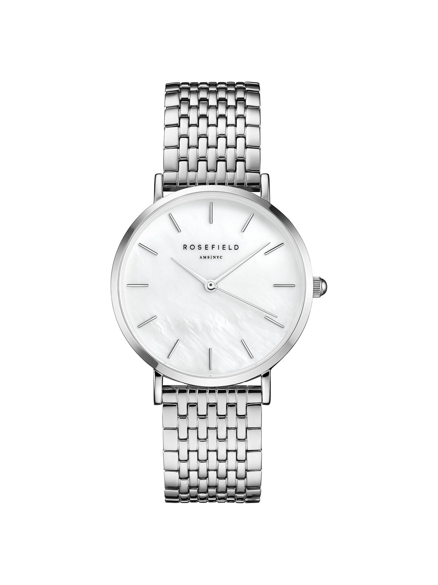 BuyROSEFIELD UEWS-U22 Women's The Upper East Bracelet Strap Watch, Silver/White Online at johnlewis.com