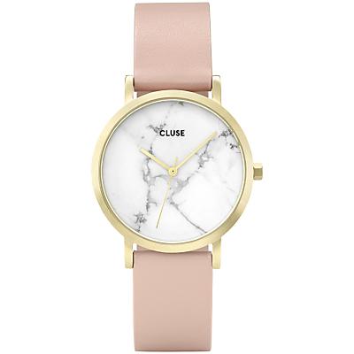 CLUSE CL40101 Women's La Roche Petite Leather Strap Watch, Nude/White Marble