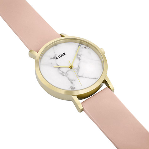 Buy CLUSE CL40101 Women's La Roche Petite Leather Strap Watch, Nude/White Marble Online at johnlewis.com