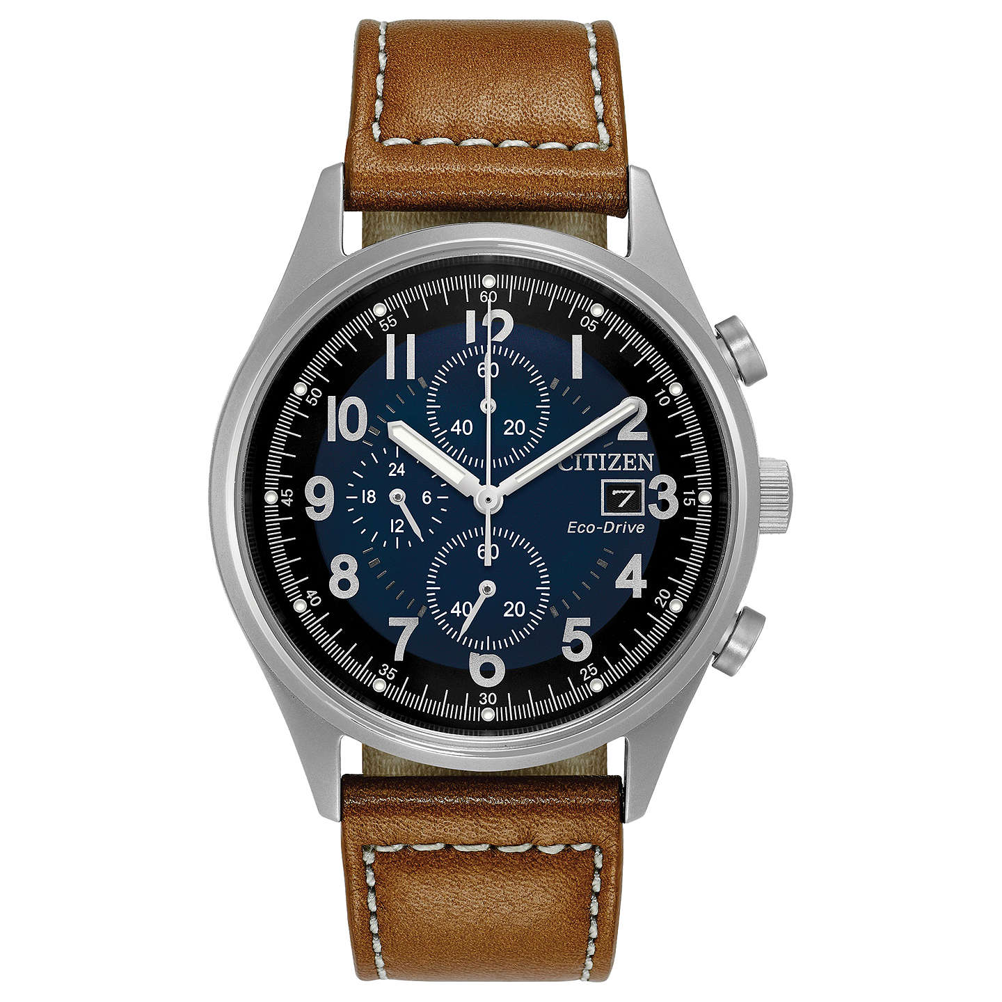 BuyCitizen CA0621-05L Men's Chronograph Date Leather Strap Watch, Tan/Midnight Online at johnlewis.com