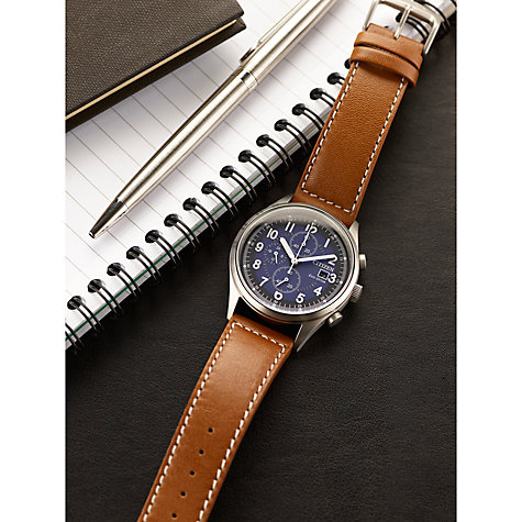 Buy Citizen CA0621-05L Men's Chronograph Date Leather Strap Watch, Tan/Midnight Online at johnlewis.com