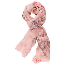 Buy Chesca Branch And Rose Printed Silk Scarf, Pink Online at johnlewis.com