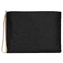 Buy Reiss Christy Long Beaded Clutch Bag, Black Online at johnlewis.com