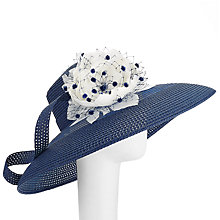 Buy John Lewis Audrey Down Brim Hat, Navy/White Online at johnlewis.com