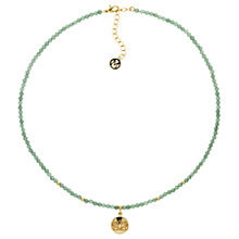 Buy Melissa Odabash Jade Bead Lotus Pendant Necklace, Green/Gold Online at johnlewis.com