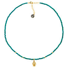 Buy Melissa Odabash Turquoise Bead Hamsa Hand Necklace, Blue/Gold Online at johnlewis.com