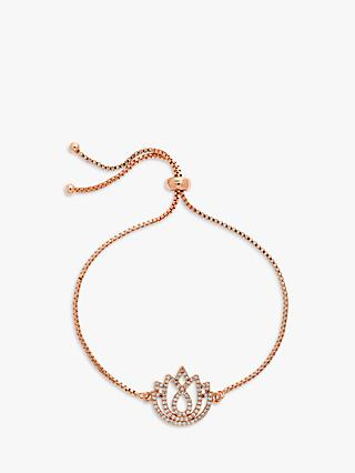Melissa Odabash Crystal Lotus Charm Box Chain Bracelet, Rose Gold
