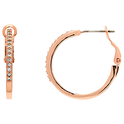 Product photo of Melissa odabash crystal large hoop earrings rose gold