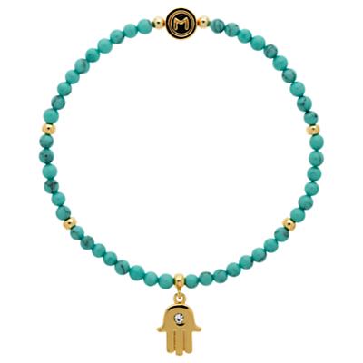 Melissa Odabash Turquoise Bead Hamsa Hand Stretch Bracelet, Blue/Gold