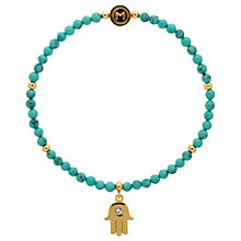 Buy Melissa Odabash Turquoise Bead Hamsa Hand Stretch Bracelet, Blue/Gold Online at johnlewis.com