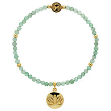 Buy Melissa Odabash Jade Bead Lotus Charm Stretch Bracelet, Green/Gold Online at johnlewis.com