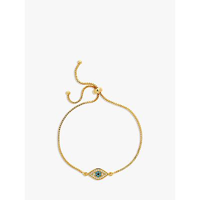 Melissa Odabash Adjustable Crystal Eye Chain Bracelet, Gold