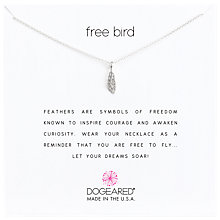 Buy Dogeared Sterling Silver Free Bird Open Feather Chain Necklace, Silver Online at johnlewis.com