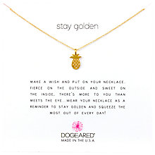 Buy Dogeared 14k Gold Plated Sterling Silver Mini Pineapple Pendant Necklace, Gold Online at johnlewis.com