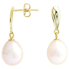Buy A B Davis 9ct Gold Pearl Drop Earrings, White Online at johnlewis.com