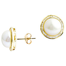 Buy A B Davis 9ct Gold Pearl Diamond Stud Earrings, Gold Online at johnlewis.com
