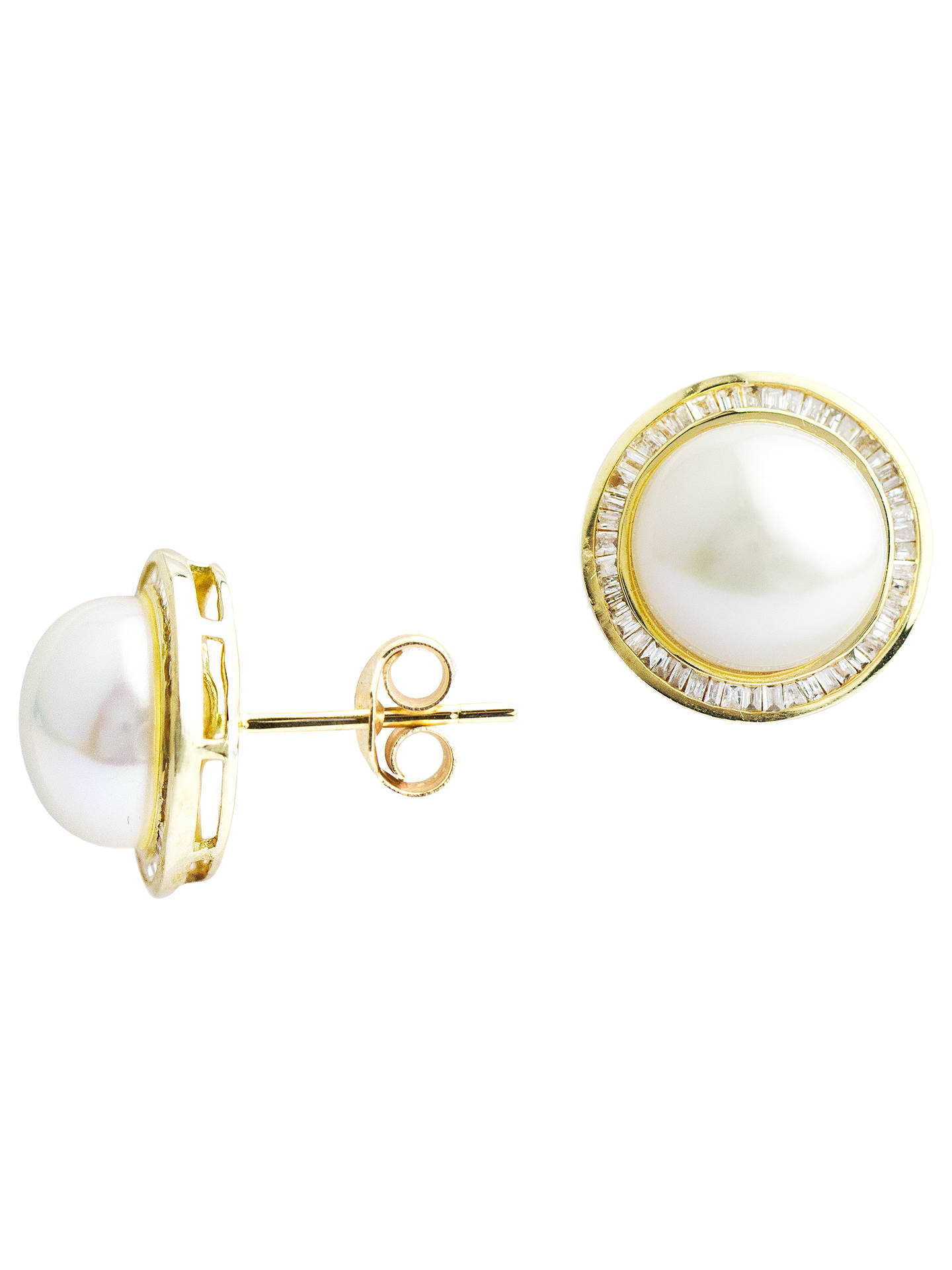 f9459d897 A B Davis 9ct Gold Pearl Diamond Stud Earrings, Gold at John Lewis ...