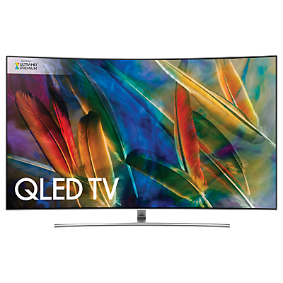 Samsung QE75Q8C Curved QLED HDR 1500 4K Ultra HD Smart TV, 75 with TVPlus/Freesat HD & 360 Design, Silver, Ultra HD Premium Certified