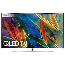 "Buy Samsung QE75Q8C Curved QLED HDR 1500 4K Ultra HD Smart TV, 75"" with TVPlus/Freesat HD & 360 Design, Silver, Ultra HD Premium Certified Online at johnlewis.com"