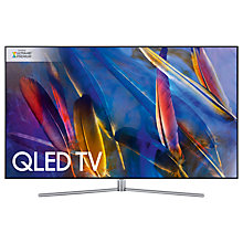 "Buy Samsung QE49Q7F QLED HDR 1500 4K Ultra HD Smart TV, 49"" with TVPlus/Freesat HD & 360 Design, Silver, UHD Premium Online at johnlewis.com"