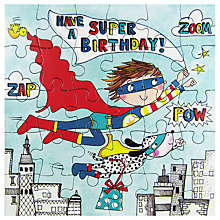 Buy Rachel Ellen Superhero and Dog Jigsaw Birthday Card Online at johnlewis.com