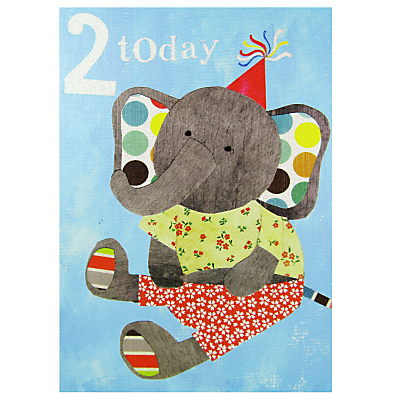 Paper Salad Elephant Age 2 Birthday Card