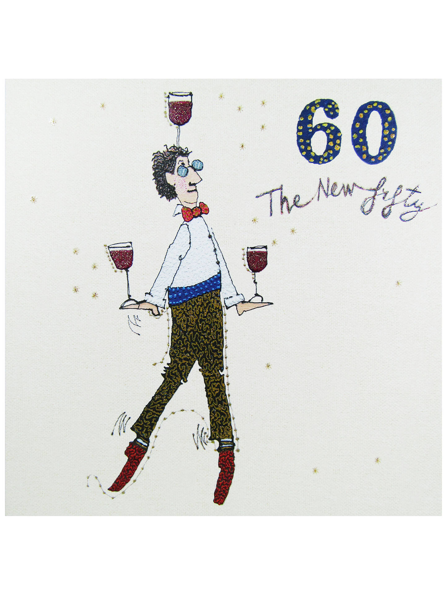 woodmansterne man balancing wine 60th birthday card at john lewis