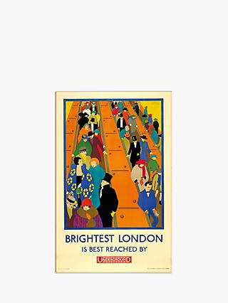 London Transport Museum - Brightest London is Reached by Underground Print & Mount, 30 x 40cm