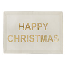 Buy John Lewis Happy Christmas Placemat, White/Gold Online at johnlewis.com