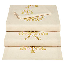 Buy John Lewis Snowflake Table Runner and 4 Napkins Set, Natural Online at johnlewis.com