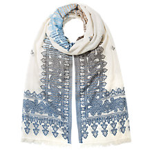 Buy East Woven Border Cotton Scarf, Blue Online at johnlewis.com